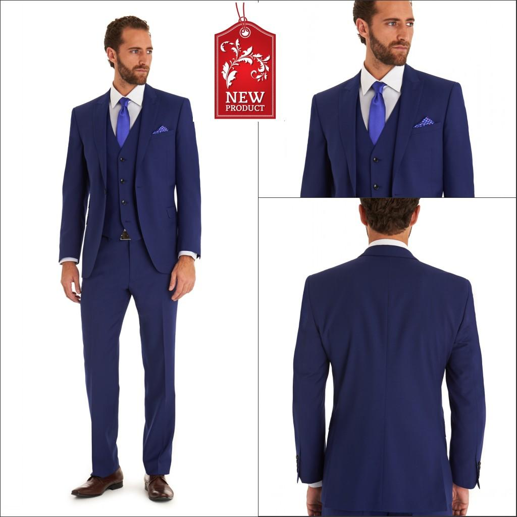 Blue Formal Wedding Groom Suits Include Vest And Tie Custom Made