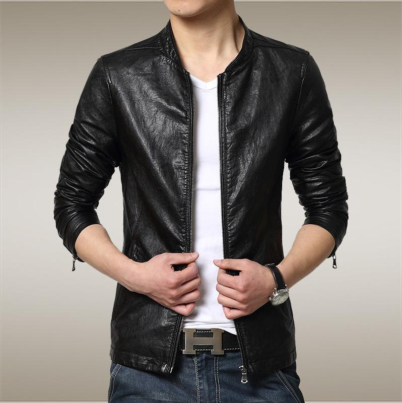 2017 New Winter Micro Collar Men Stand Collar Leather Jacket ...