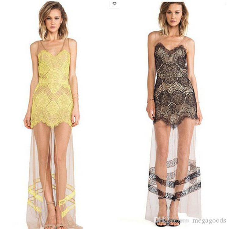 Dress Sheer Lace Patchwork