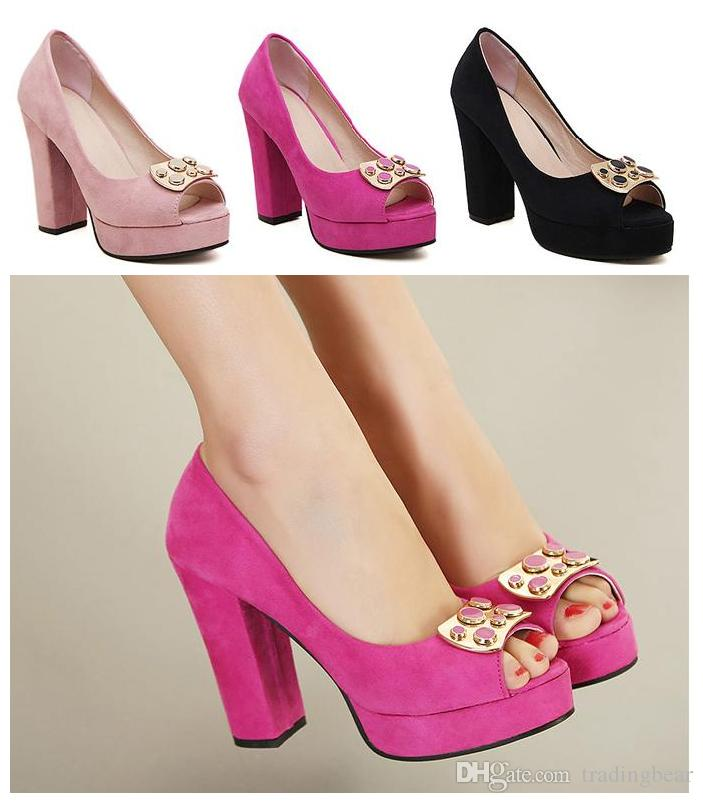 Spring Fall Hot Pink Peep Toe Chunky Heels 2015 Shoes Women Sexy
