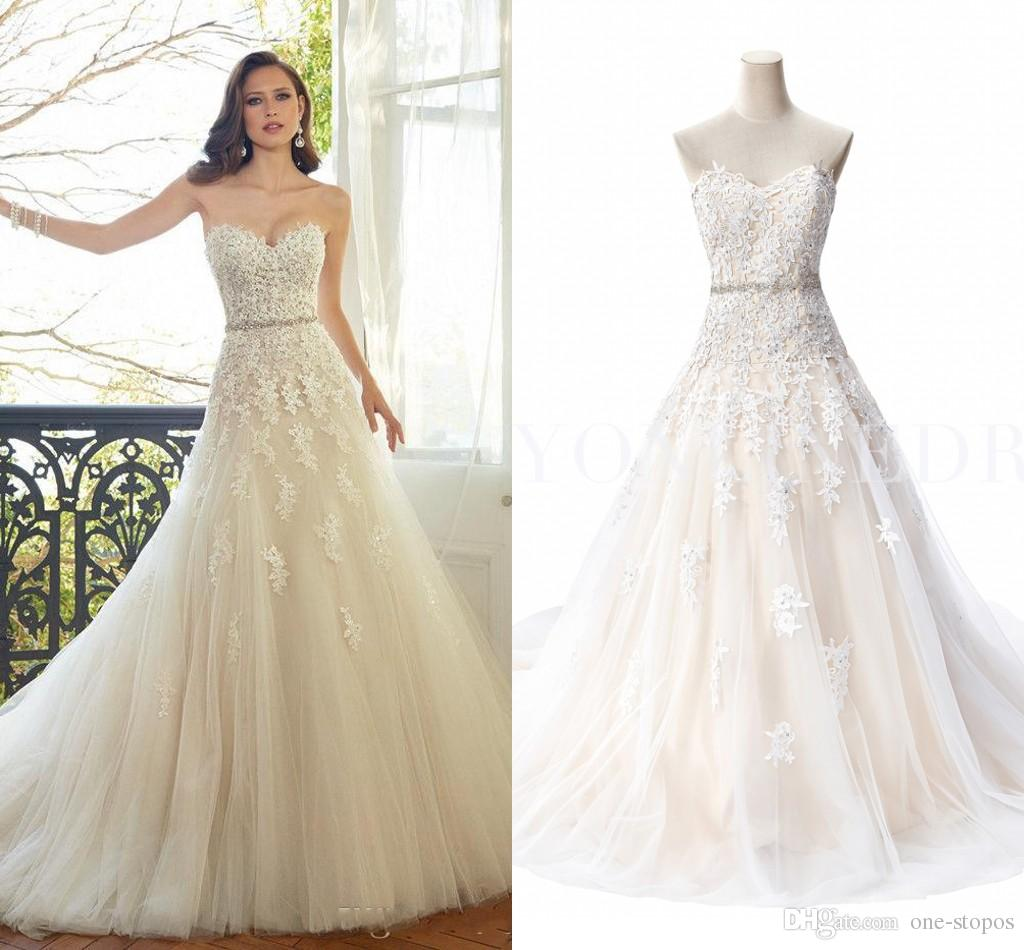 Romatic Cheap Hot Wedding Dresses Sweetheart Lace