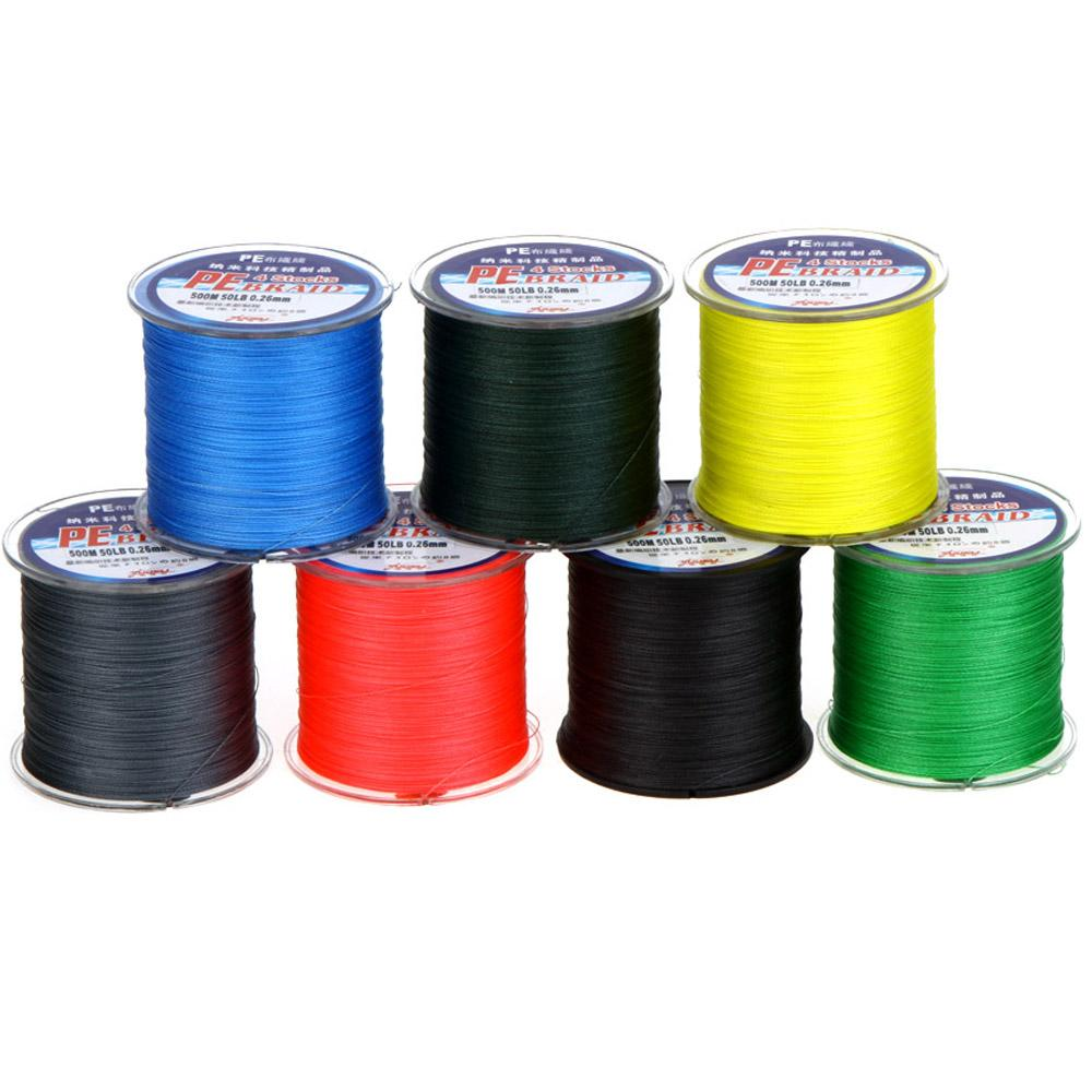 500m 50lb multi color pe fishing line 4 strands for Colored fishing line