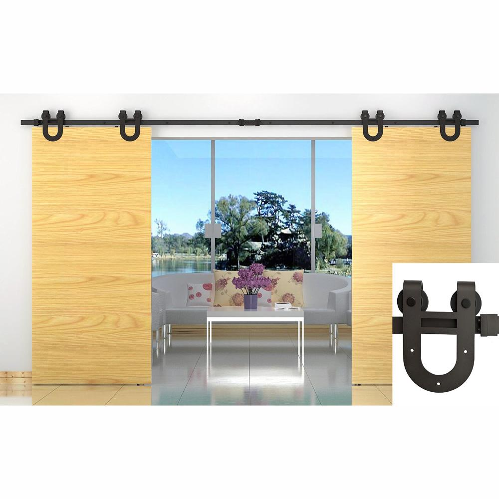 10FT Horseshoe Antique Black Wooden Double Sliding Barn Closet Door Heavy  Duty Modern Wood Hardware Interior American Style Track Kit Set Sliding Door  ...