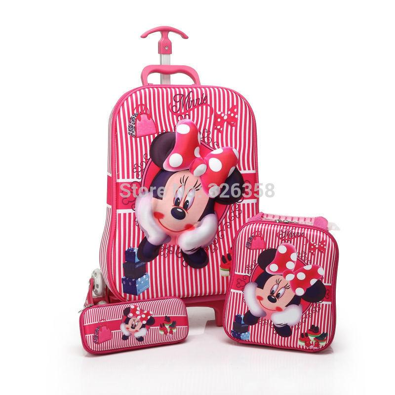 Children Minnie Mouse Rolling Luggage School Bag Set/Boys Girls ...