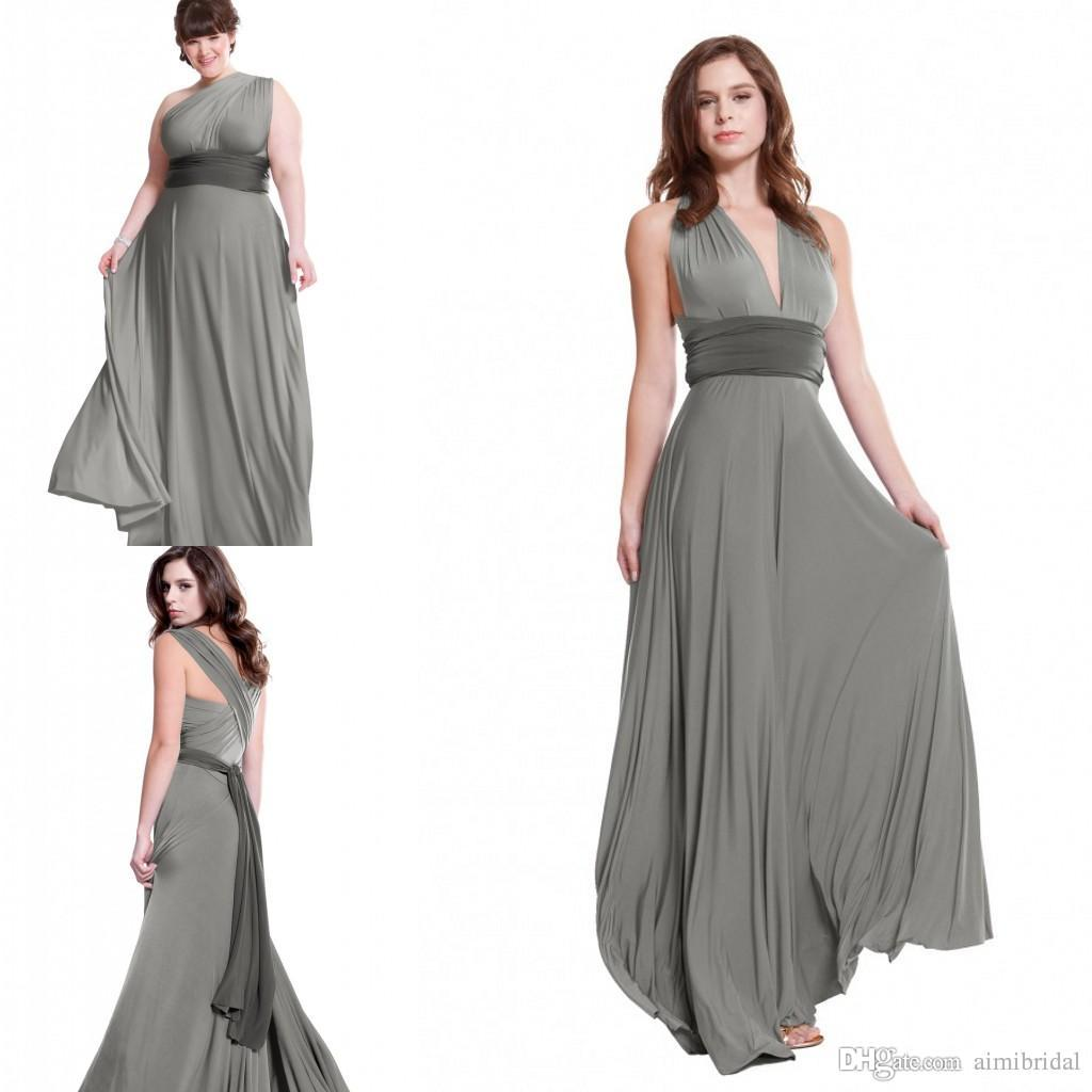 Charcoal grey convertible bridesmaids dresses 2017 a line for Grey dress wedding guest
