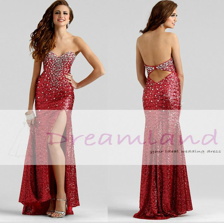 Red Sequins Top Long Sparkly Beaded Sexy Siide Plit Prom Dresses ...