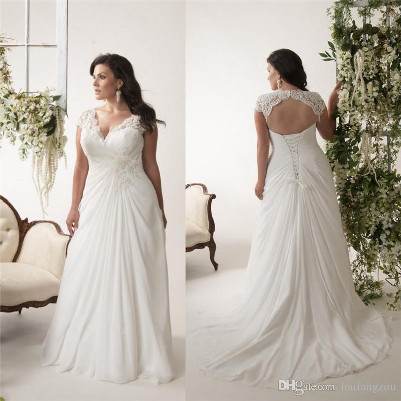 Discount 2016 plus size beaded wedding dresses with pleats for Cheap simple plus size wedding dresses