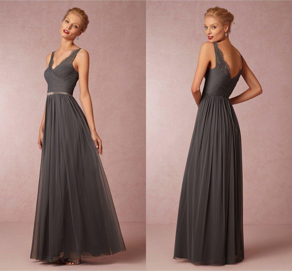 Dark Grey 2015 Spaghetti Lace Bridesmaid Dresses Chiffon