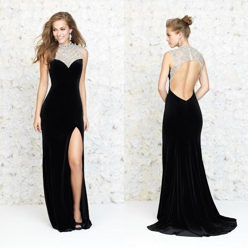 Sexy Black Evening Gowns 2015 Spring Backless Velvet Formal Prom ...