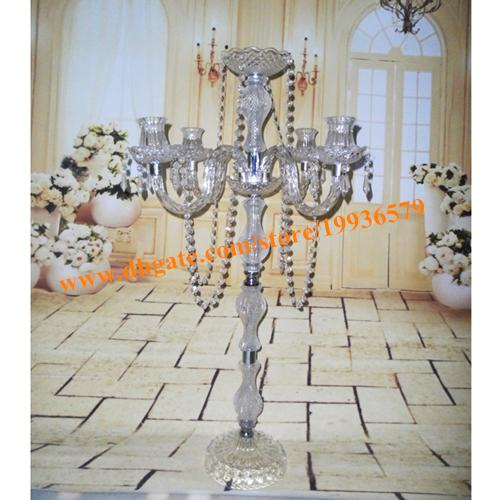 H90cm Acrylic Clear 5 Arm Candelabra With Flower Bowl For Wedding Table  Decor Acrylic 5 Arm Candelabra Sliver Plated Candle Stand Clear Candle  Holders ...