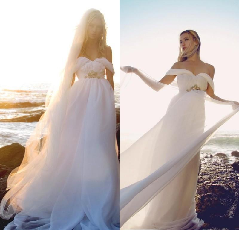 flowing chiffon beach wedding dresses 2015 off shoulder