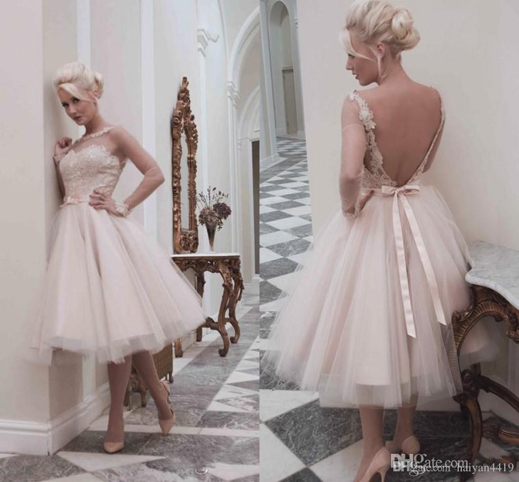 50s Style Retro Wedding Dresses 2016 Illusion Neck Long