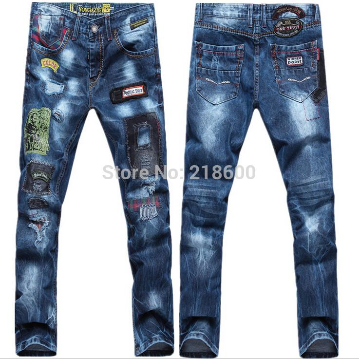 2017 Hot Sale!2014 Fashion Denim Long Jeans Men Famous Brand Hole ...