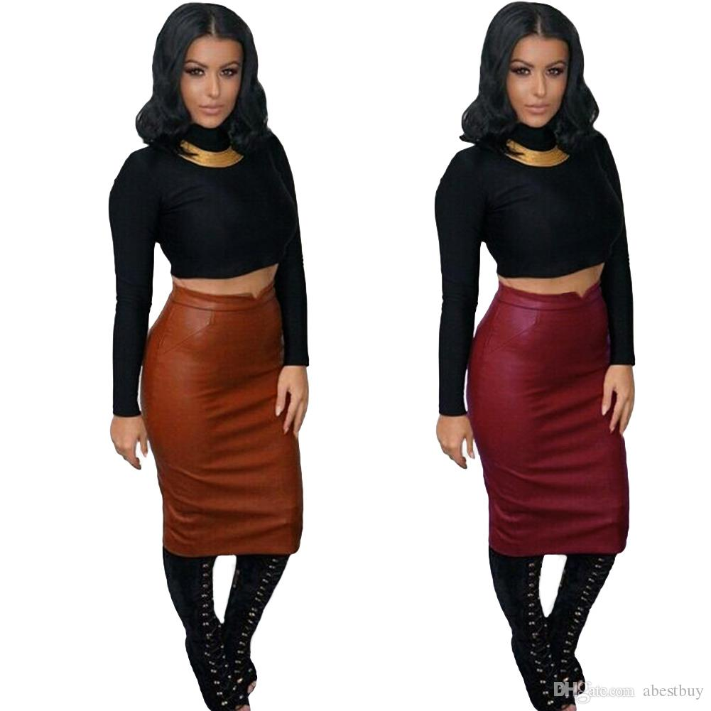 Best Europe Women Soft Pu Leather Skirt High Waist Slim Hip Pencil ...