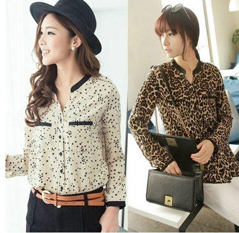 sexy damen karriere shirt stehkragen langarm leopard. Black Bedroom Furniture Sets. Home Design Ideas
