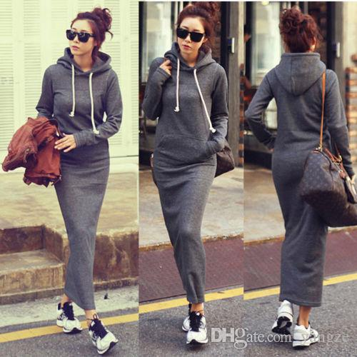 Hot Fashion Autumn Fall Winter Women Black Gray Sweater Dress Fleeced Hoodies Long Sleeved Slim Maxi Dresses S M L XL XXL Winter Dress M176