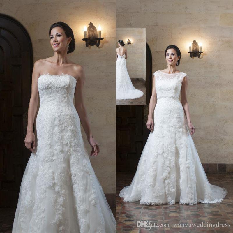Wedding Dresses For Over 55 : Fashion applique over skirts lace wedding dresses vintage scoop