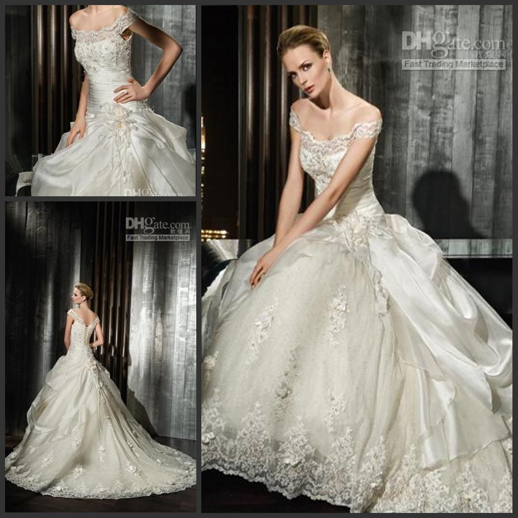 Elegant f Shoulder Lace Victorian Ball Gown Wedding