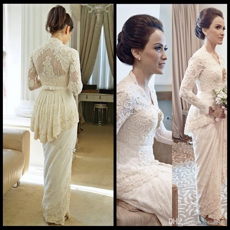 Elegant long sleeve lace sheath ankle length 2015 wedding for Ankle length wedding dress with sleeves