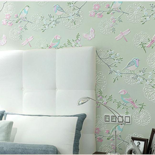 3d Modern Wallpapers Home Decor Flower Wall Paper Non Woven 3d Bird Wallpaper Decorative Bedroom Wallpaper