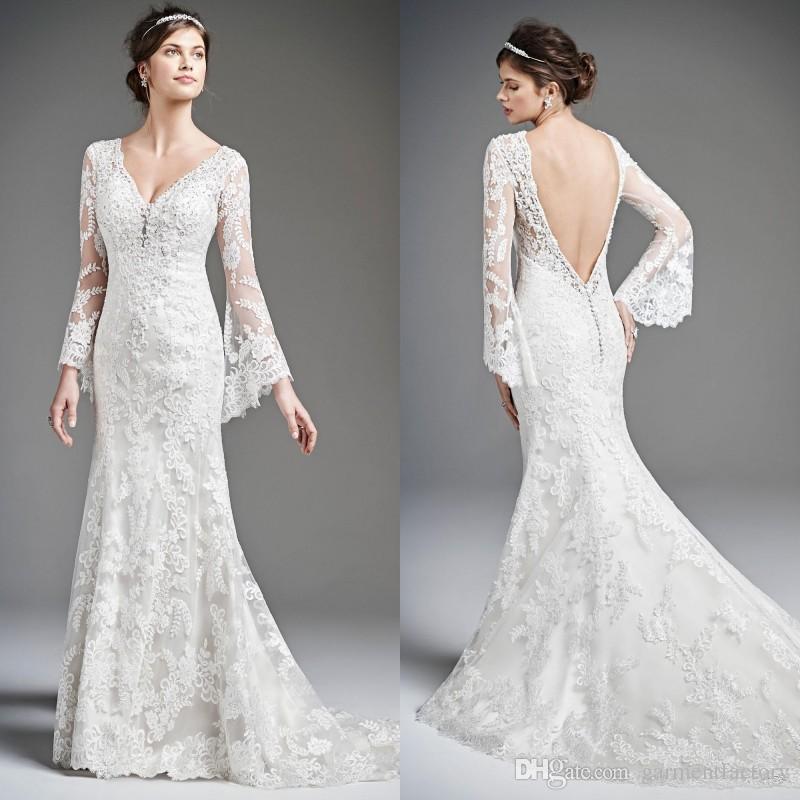 Bell long sleeves wedding dresses 2015 v neck mermaid for Bell sleeve wedding dress