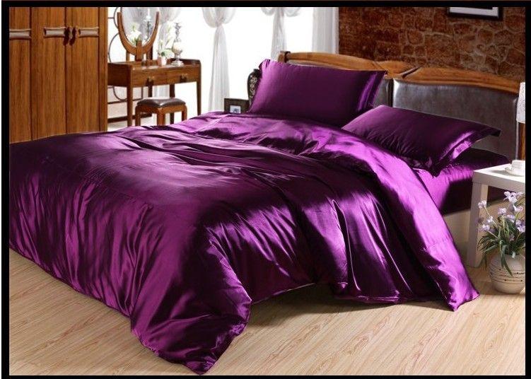 dark deep purple satin bedding set silk sheets king queen full size doona duvet cover quilt bed linen bedspreads bedinabag double single bedding supplies