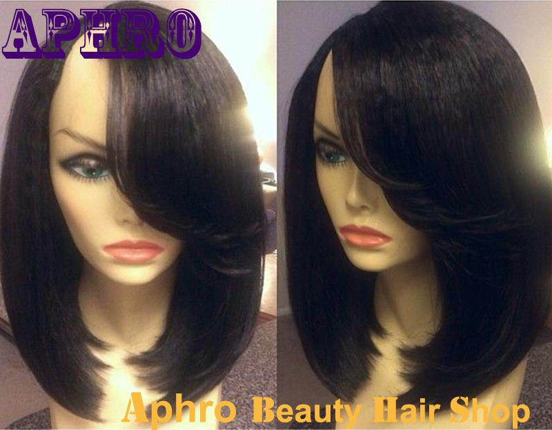 Cheap Side Part Short Bob Haircut Black Brazilian Virgin Human Hair U