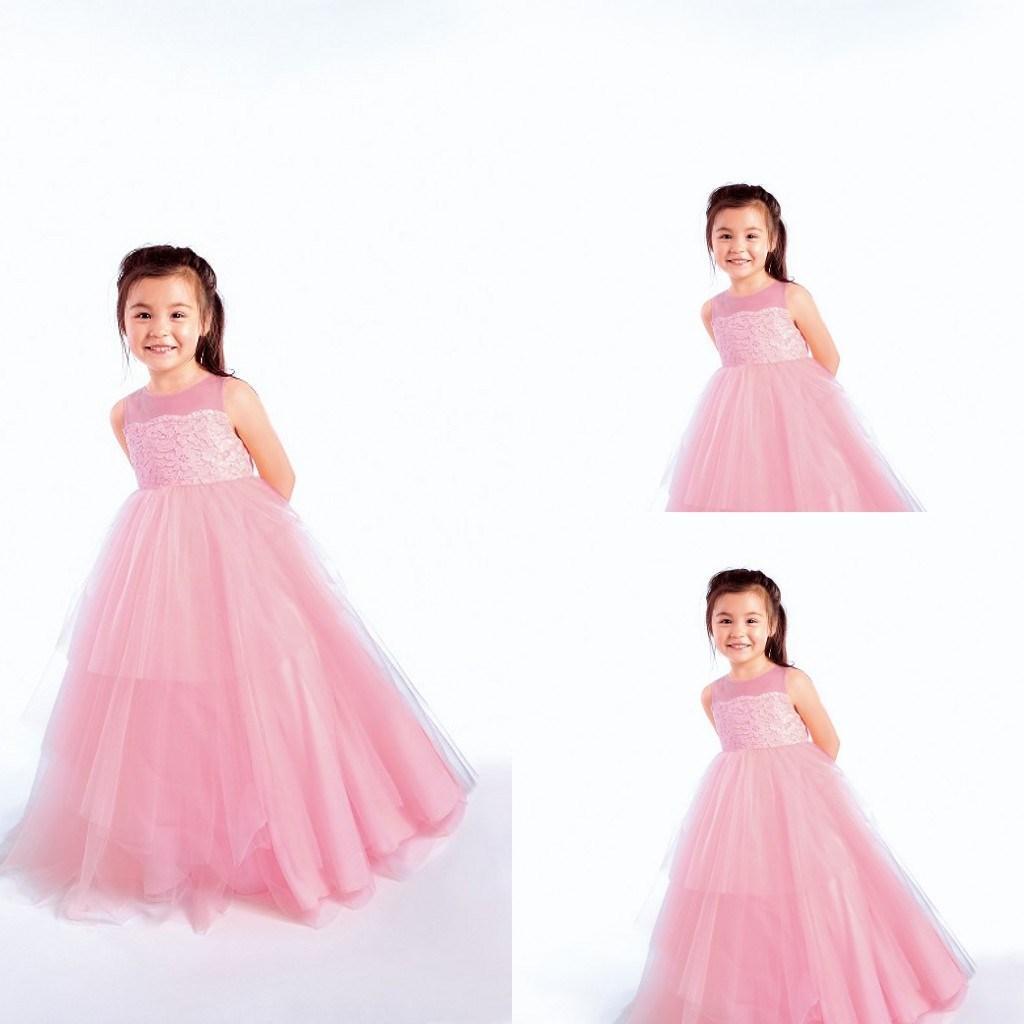 Sweet Pink Flower Girl Dresses Formal Crew Sleeveless A Line Floor Length Zip