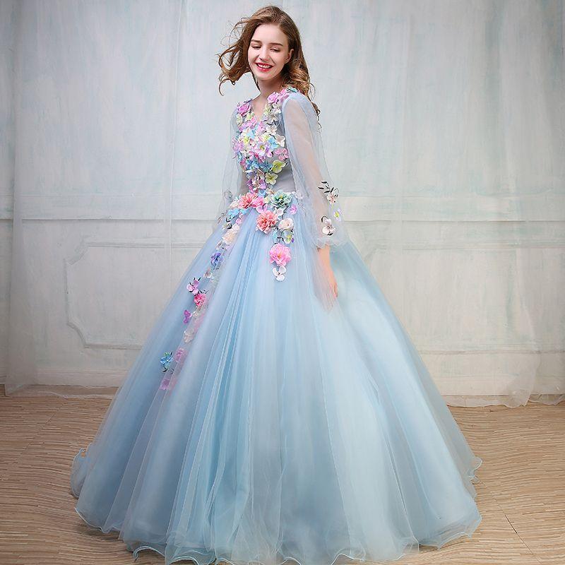 100 Real Flower Light Blue Light Purple Ball Gown Medieval Dress Renaissance Gown Princess Dress
