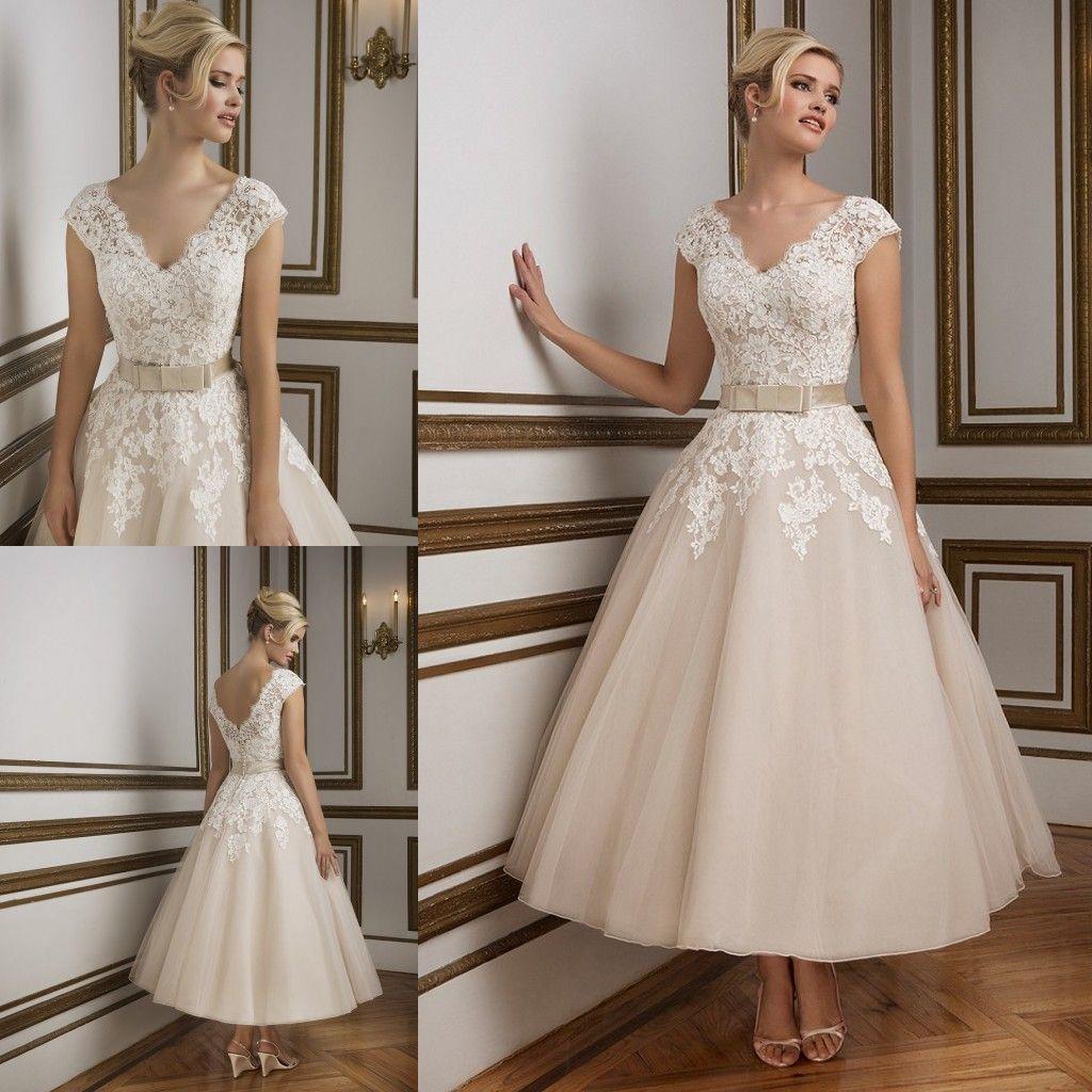 Elegant short tea length wedding dresses 2016 justin for Used short wedding dresses