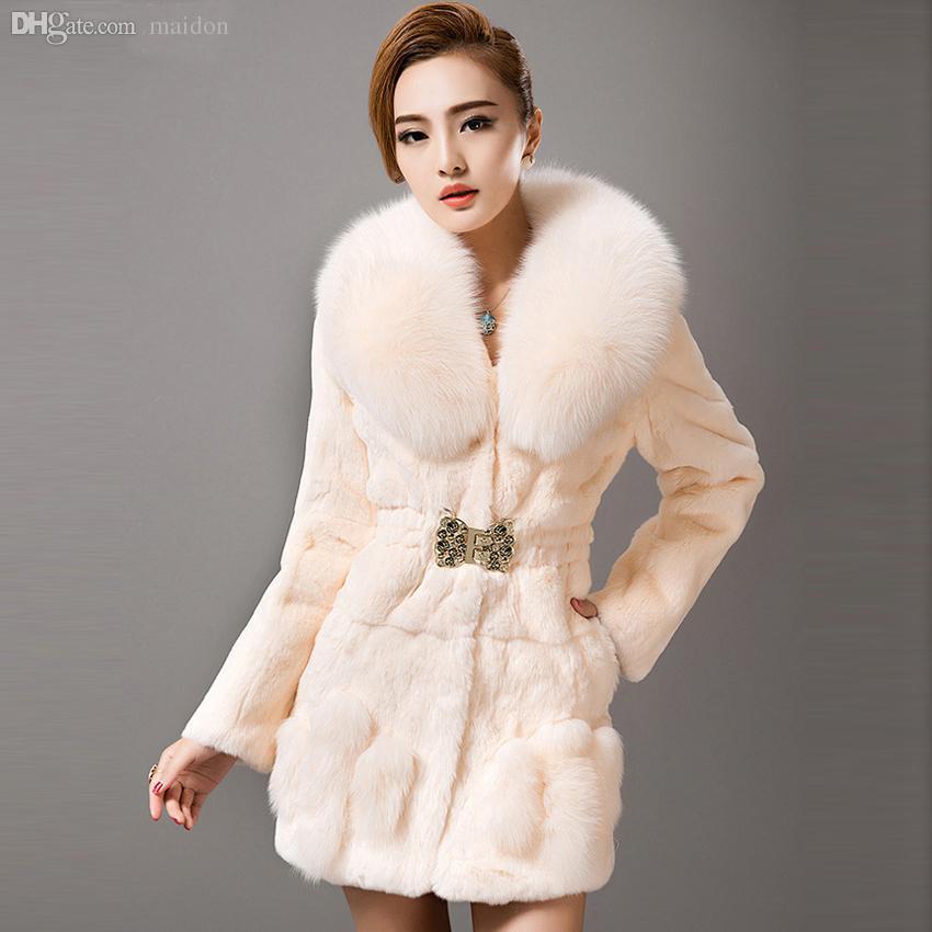 Wholesale-Fashion Lady Fur Coats Winter Whole Piece Real Rex ...