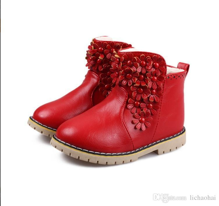 2015 New Girl Boots Solid Pu Leather Boots Short Boots Baby Girls ...