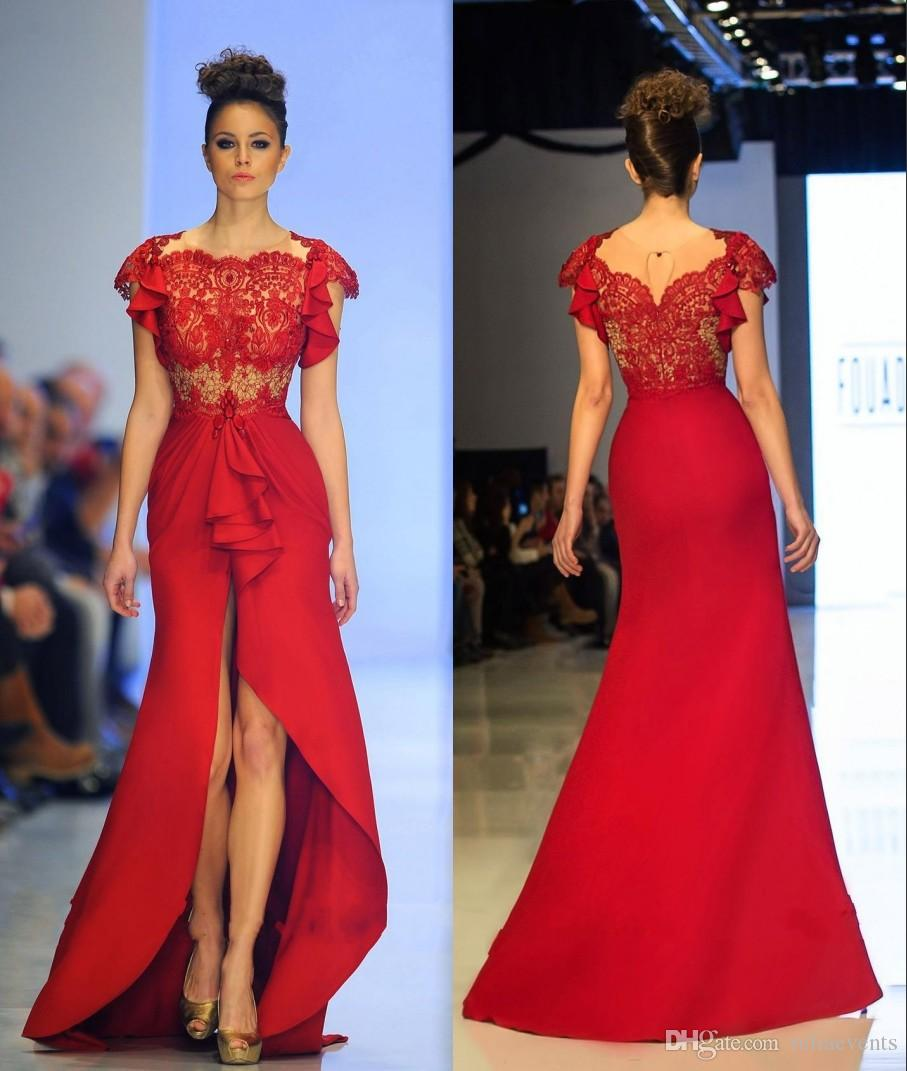Mermaid Backless Red Lace Evening Dress Satin Cap Sleeve Sheer ...