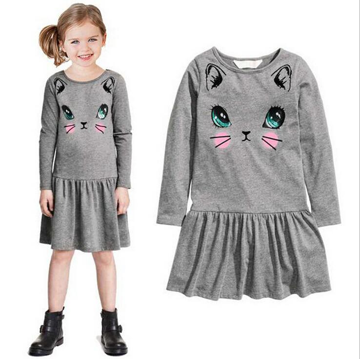2017 Spring Autumn Style Toddler Girl Clothing Dress Girl Cartoon Cat Cotton Cute Dress Kids