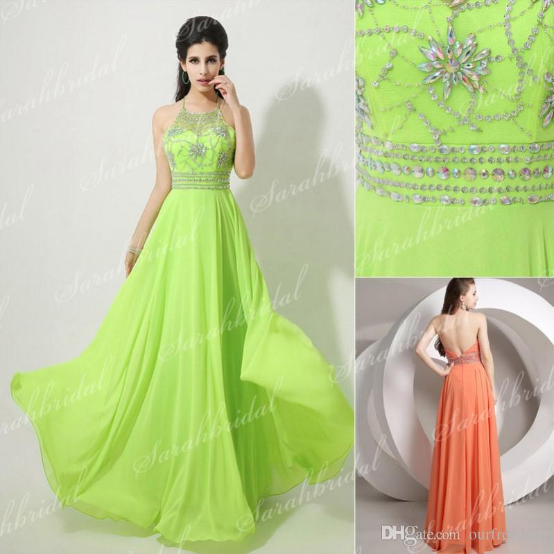 Actual Image New Prom Dresses Halter Crystals Beads Backless A ...