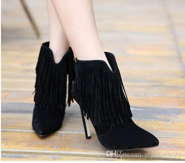 2016 Chic Tassles Fringe Boots Thin Heel Ankle Boots Suede Pointed ...