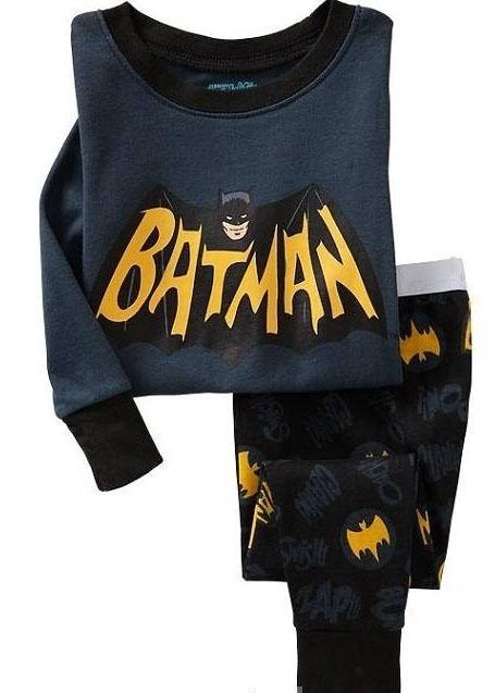 New Dark Grey Batman Cartoon Children Long Sleeve Pajamas Set ...