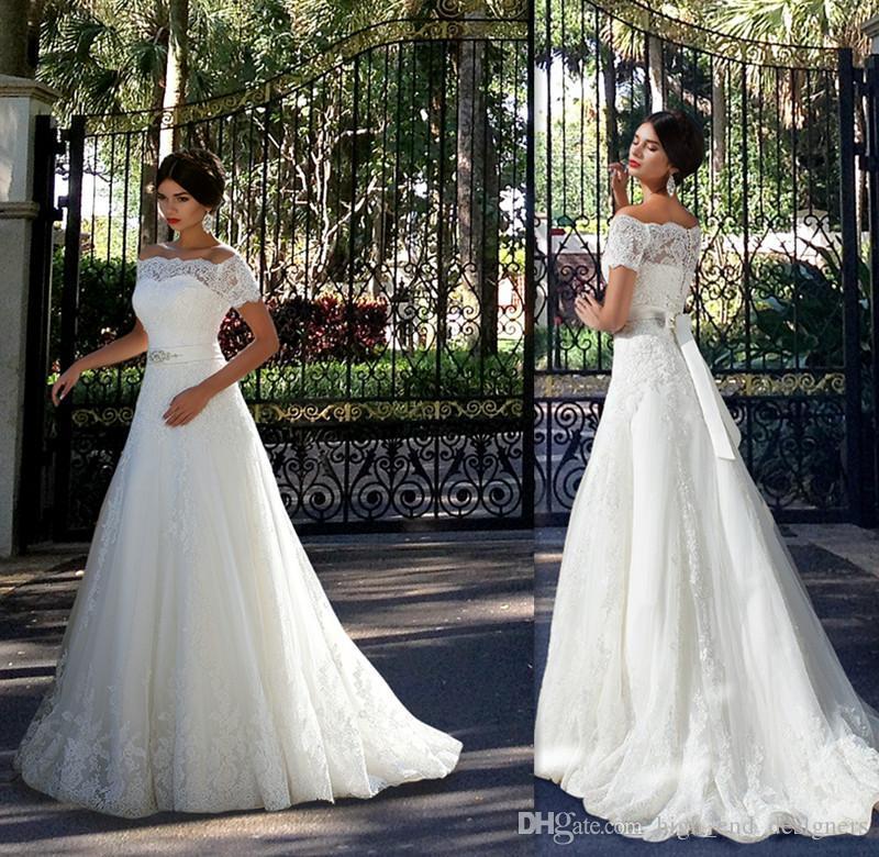 Discount 2015 fitted off the shoulder wedding dresses for High end designer wedding dresses