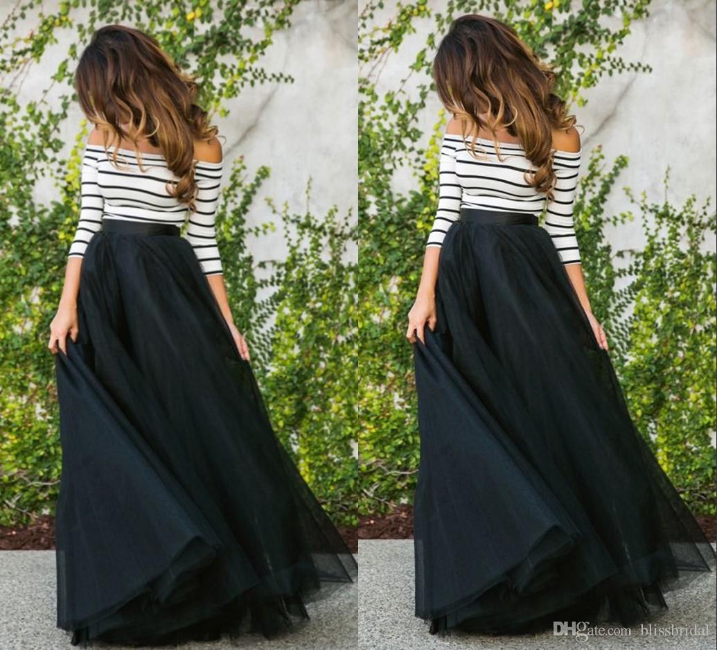 2017 Fashion Organza Black Long Skirts Women Casual Party Wear ...