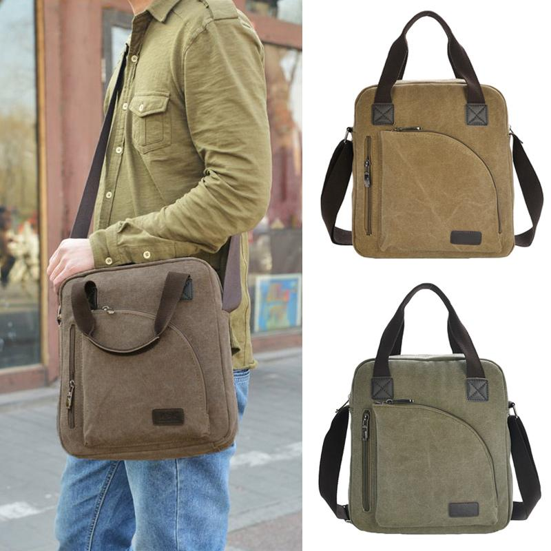 Vintage Men'S Travel Bags Top Quality Canvas Men Crossbody Bag Zip ...