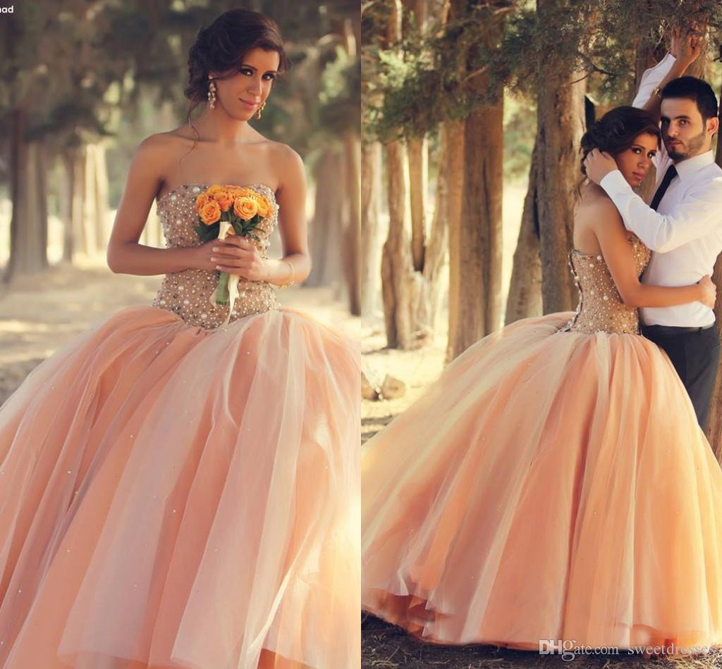 Luxury Pink Crystal Pearls Beaded Ball Gowns Strapless