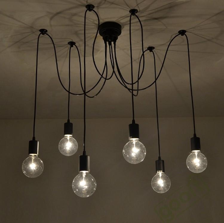 6 Arm Edison Bulb Pendant Chandelier Modern Antique Adjustable Diy – Pendant Chandelier