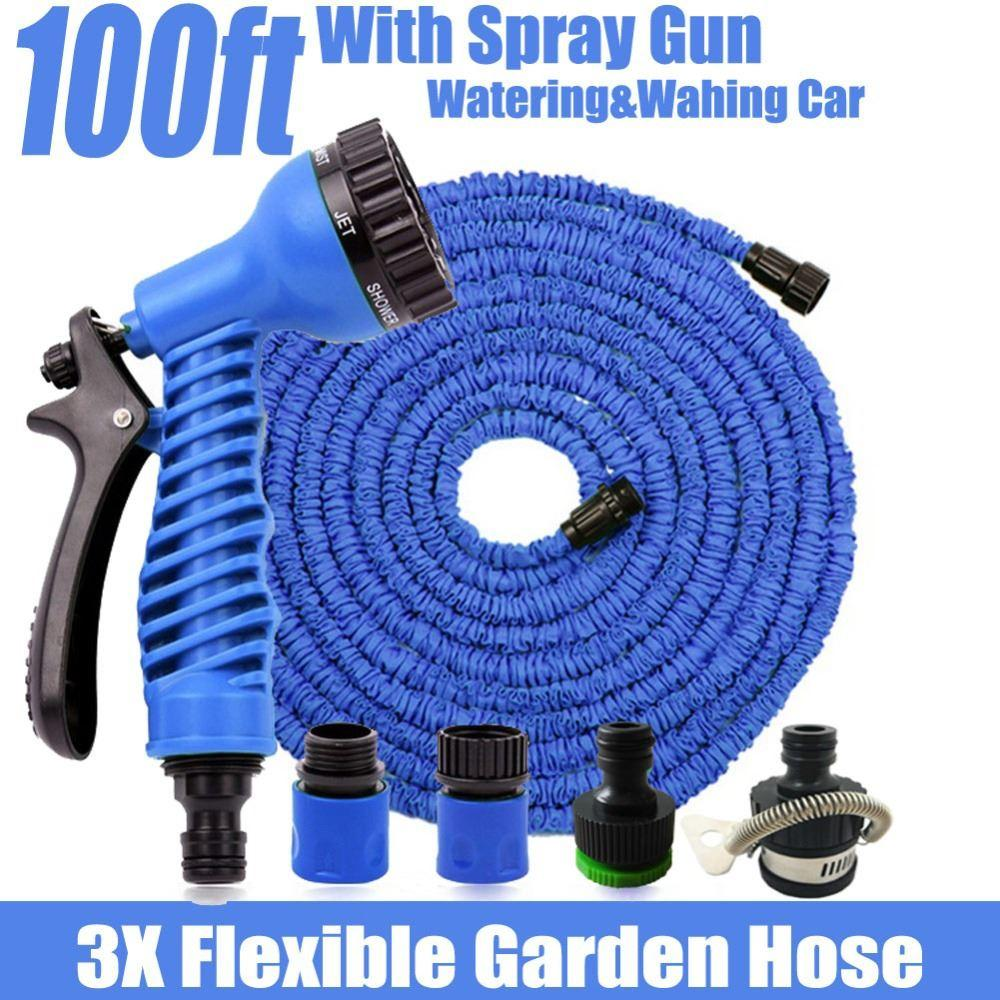 Magic Hose 100ft Flexible Garden Water HoseSpray Gun Wash Pipe