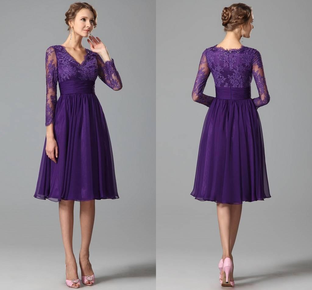 New Purple Party Dresses For Women With Long Sleeve Prom A-line ...
