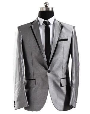 Free Ship Mens Silver Grey Tuxedo Suit Wedding/Stage Performance