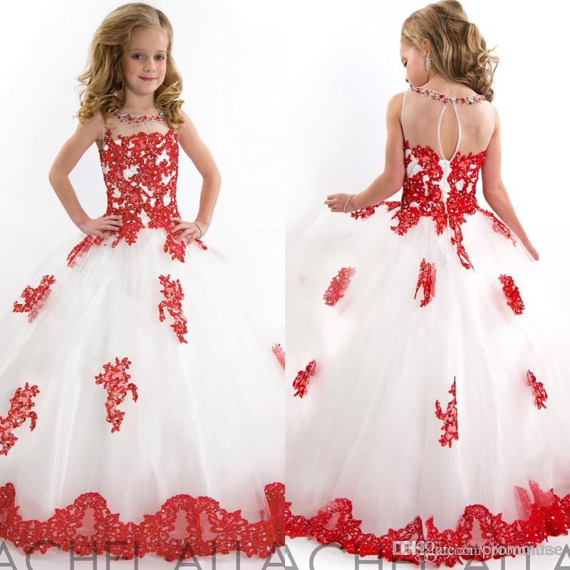 2017 Little Girls Pageant Dress White And Red Beads Lace Applique ...
