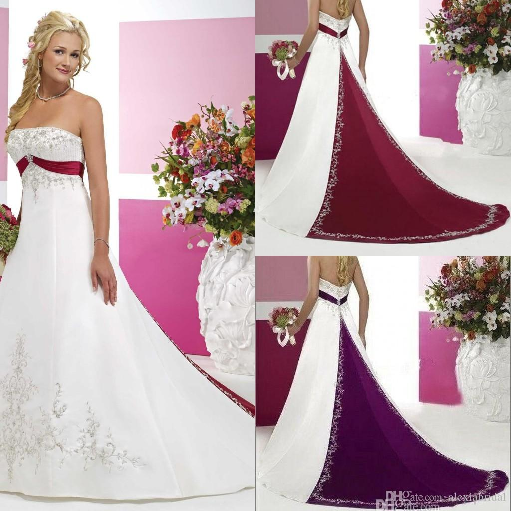 Vintage Red And White Satin Wedding Dresses Embroidery