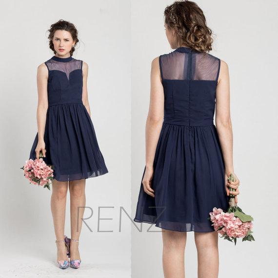 2015 Spring New Navy Blue Bridesmaid Dresses Cheap See through ...