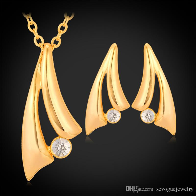 best quality simple style 18k real gold plated jewelry set