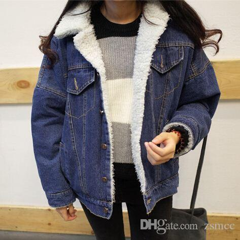 Korean Women Denim Jacket With Lamb Fur Lapel Collar Oversized ...